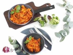 Kalorienarme Reispfanne mit Hühnchenbrust